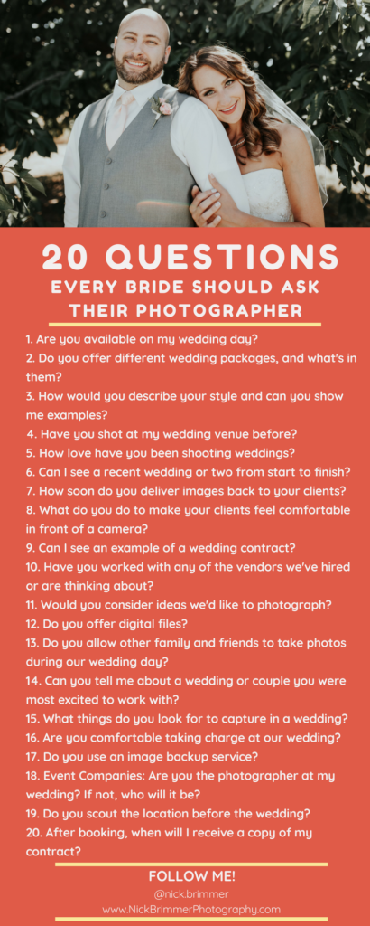 20 Questions Every Bride Should Ask Their Wedding Photographer